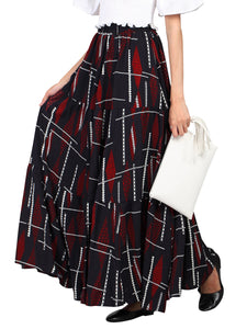 Jolie Moi Tired Maxi Skirt, Balck Multi