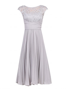 Jolie Moi Lace Bodice Pleated Dress, Silver Grey