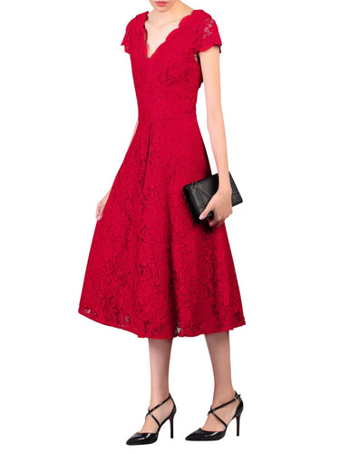 Jolie Moi Cap Sleeve Lace Midi Dress, Red