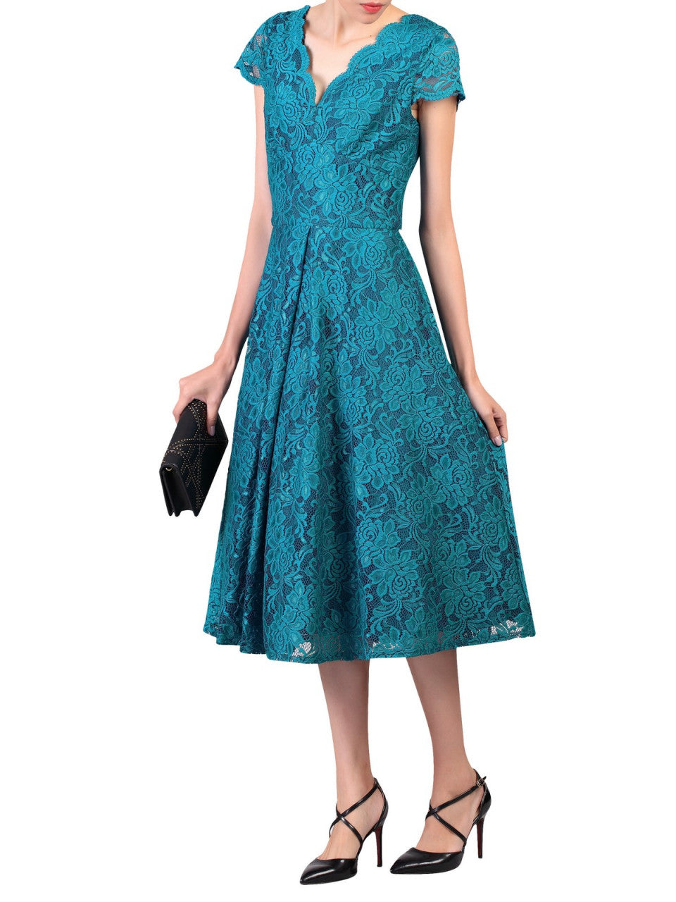 75958947c Load image into Gallery viewer, Jolie Moi Cap Sleeve Lace Midi Dress, Teal  ...