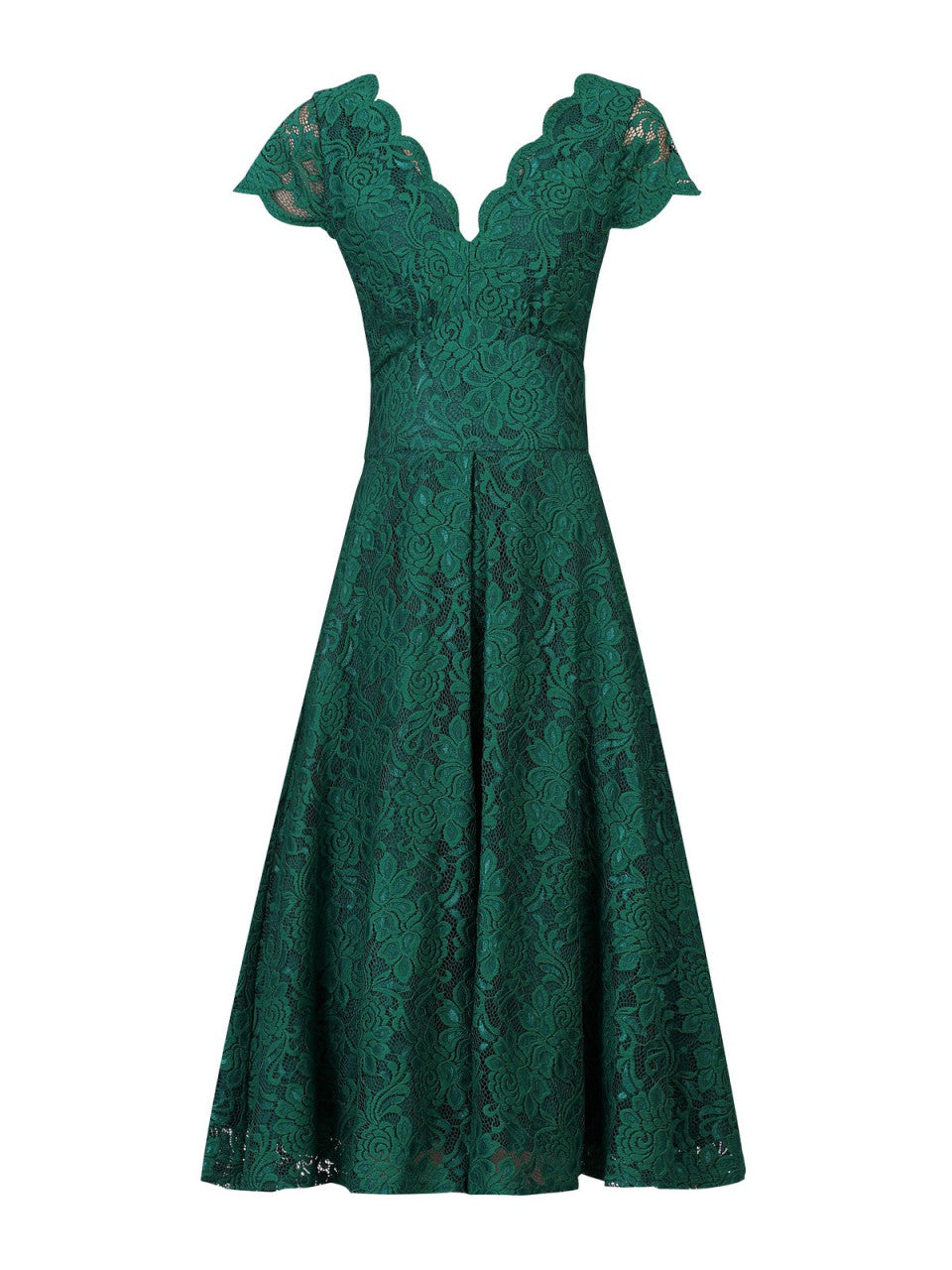 ddb6624d3 Load image into Gallery viewer, Jolie Moi Cap Sleeve Lace Midi Dress, Green  ...