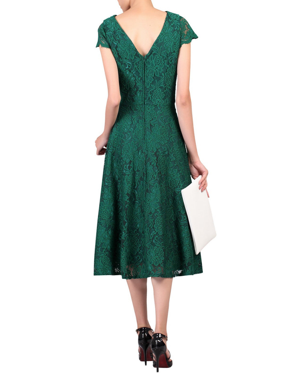 1cb94bd56 ... Load image into Gallery viewer, Jolie Moi Cap Sleeve Lace Midi Dress,  Green ...
