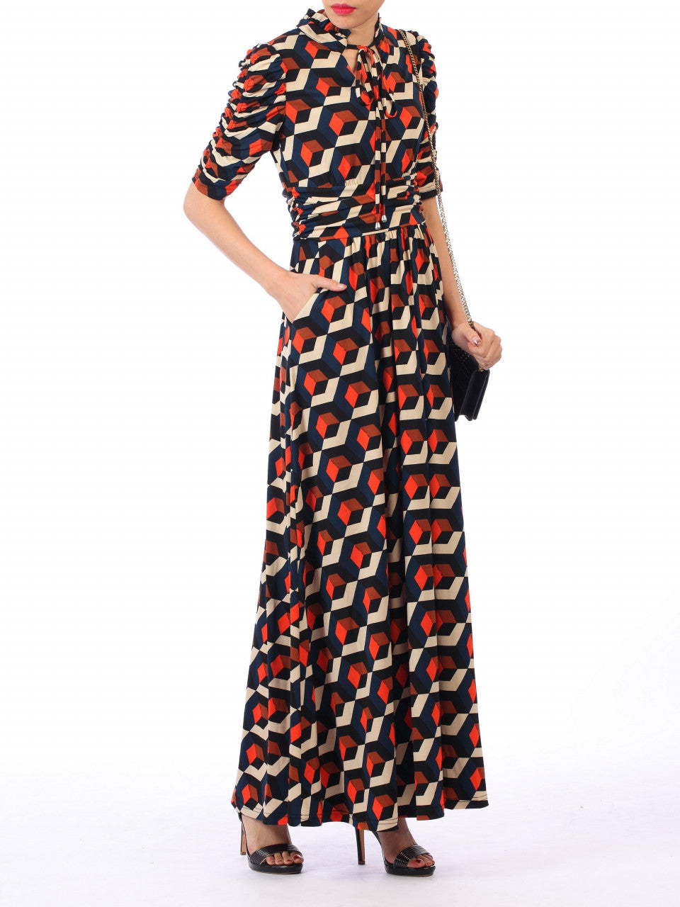 21c6099438 Load image into Gallery viewer, Jolie Moi Tie Collar Maxi Dress, Navy Geo  ...