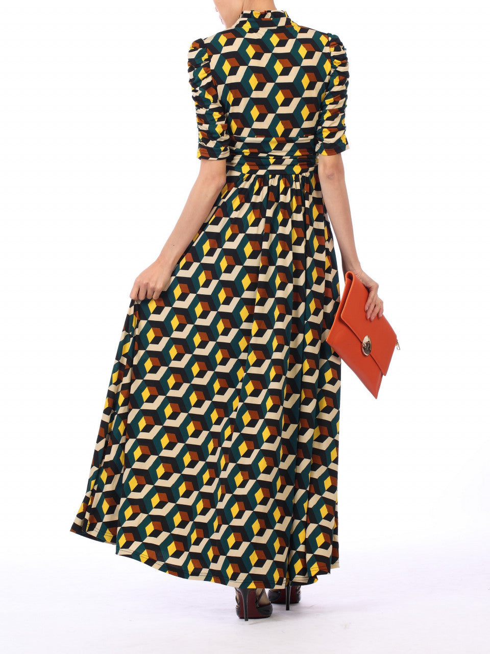 d7a1daba8b ... Load image into Gallery viewer, Jolie Moi Tie Collar Maxi Dress, Teal  Geo ...