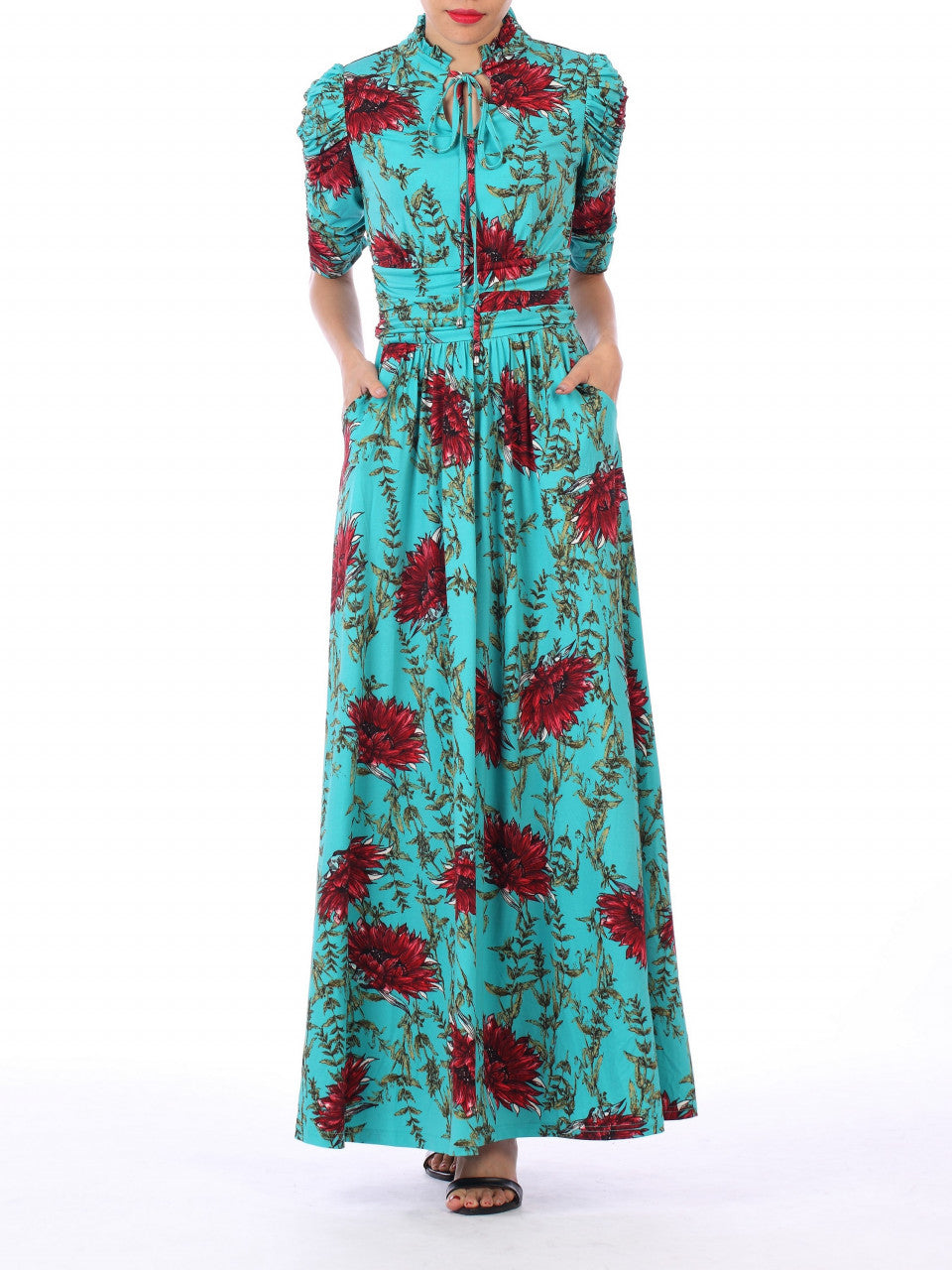 d9f594c2b7 Load image into Gallery viewer, Jolie Moi Tie Collar Maxi Dress, Teal  Floral ...