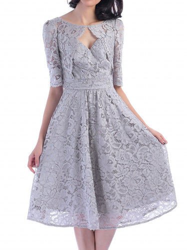 Jolie Moi Fit And Flare Lace Midi Dress, Silver Grey