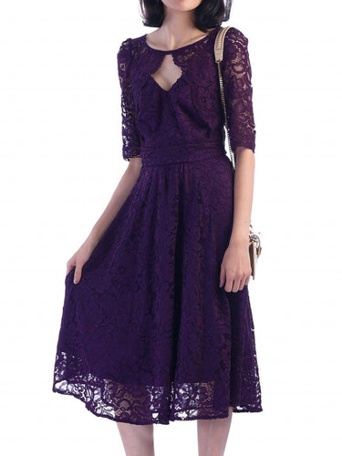 Jolie Moi Fit And Flare Lace Midi Dress, Dark Purple
