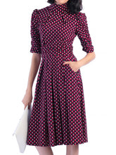 Load image into Gallery viewer, Jolie Moi Geometric Turtle Neck Flared Dress, Pink Pattern