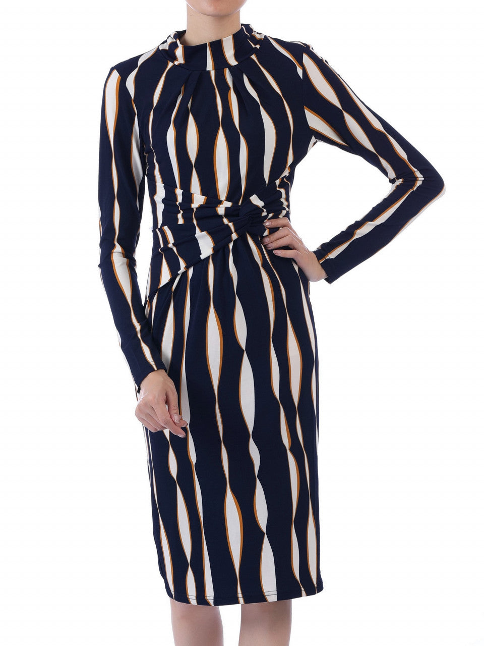 Jolie Moi Twist Body Con Dress, Navy Wave