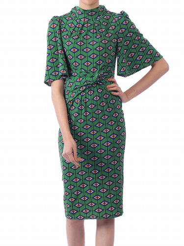 Jolie Moi Geometric Print High Neck Midi Dress, Green Geo