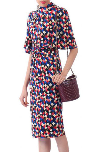 Jolie Moi Diamond Print High Neck Midi Dress, Royal Multi