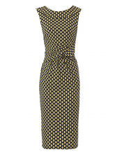 Load image into Gallery viewer, Jolie Moi Roll Collar Sleeveless Shift Dress, Yellow/Multi