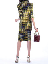 Load image into Gallery viewer, Jolie Moi Vintage Cross Front Dress, Yellow/Black