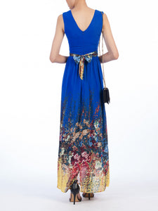 Jolie Moi Floral Chiffon Maxi Dress, Royal Blue/Multi