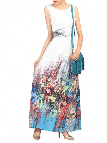 Jolie Moi Printed Chiffon Maxi Dress, White Floral