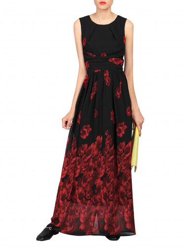 Jolie Moi Floral Chiffon Maxi Dress, Black Red