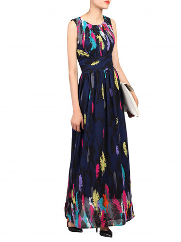 Jolie Moi Feather Belted Maxi Dress, Navy Pattern