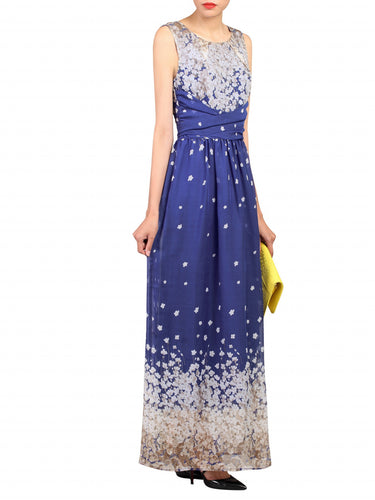 Jolie Moi Floral Belted Maxi Dress, Blue Floral