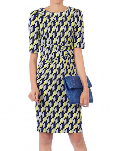 Jolie Moi Geometric Print Pencil Dress, Yellow Geo