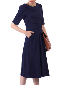Jolie Moi Roll Collar 50s Dress, NAVY