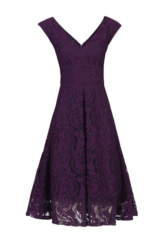 Jolie Moi 50s Lace Fit And Flare Dress, PURPLE