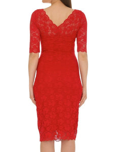 Jolie Moi Three Quarter Sleeve Lace Dress, Red