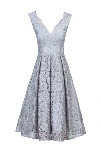 Jolie Moi Floral Lace Pleated Dress, grey
