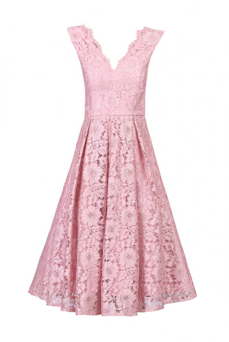 Jolie Moi Floral Lace Pleated Dress, Pink Mauve
