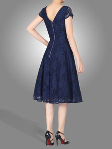 Jolie Moi Cap Sleeve Lace Prom Dress, Navy