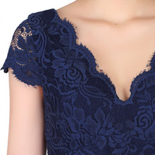 Load image into Gallery viewer, Jolie Moi Cap Sleeve Lace Prom Dress, Navy