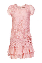 Load image into Gallery viewer, Jolie Moi Crochet Lace Cap Sleeve Dress, BLUSH