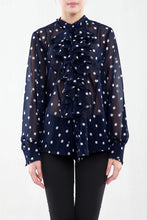 Load image into Gallery viewer, Jolie Moi Polka Print Ruffle Front Blouse, BLUE Polka