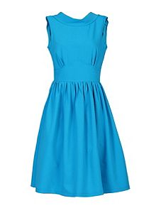 Jolie Moi Boat Neck 50s` Fit & Flare Dress Blue