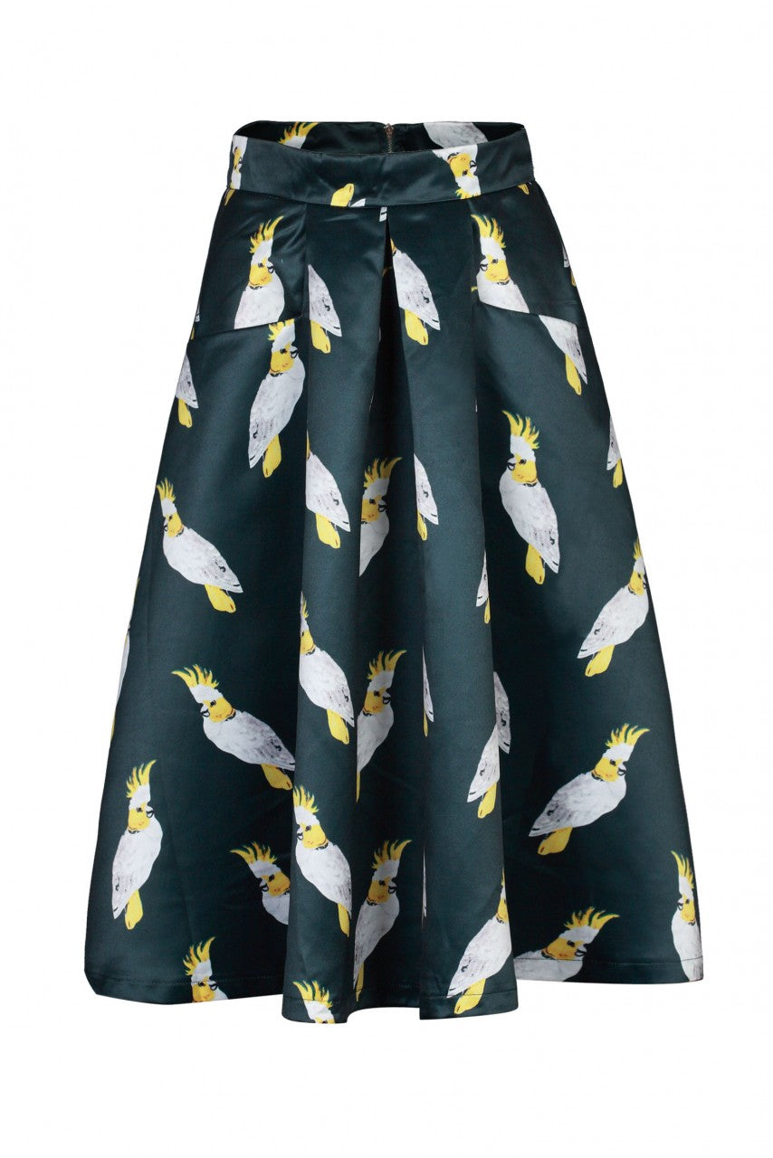 Jolie Moi Green Bird Print A-Line Skirt
