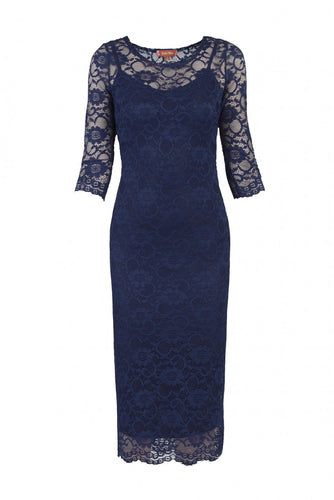Jolie Moi Two In One Lace Midi Dress, navy