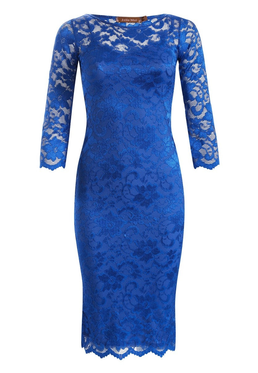 Jolie Moi Two In One Lace Midi Dress, Royal Blue