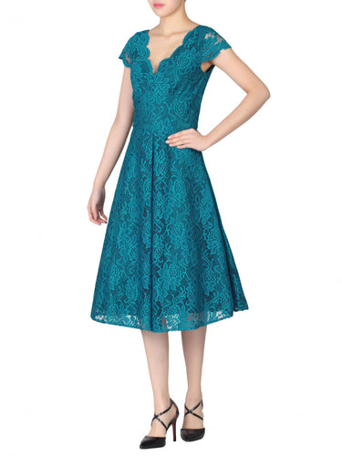 Jolie Moi Cap Sleeve 50s Lace Dress, Teal