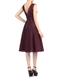 Jolie Moi Lace Bonded Fit & Flare Dress, Burgundy