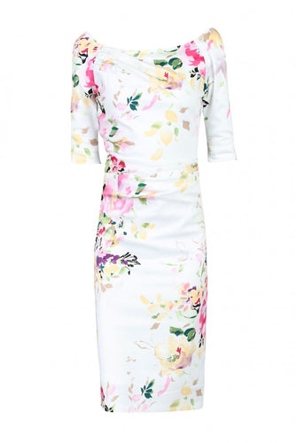 Jolie Moi 1/2 Sleeve Ruched Wiggle Dress, Cream Floral