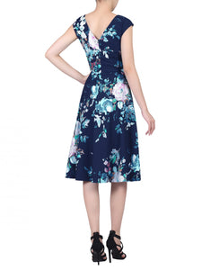 Jolie Moi Sweetheart Neckline Fit And Flare Dress, navy floral
