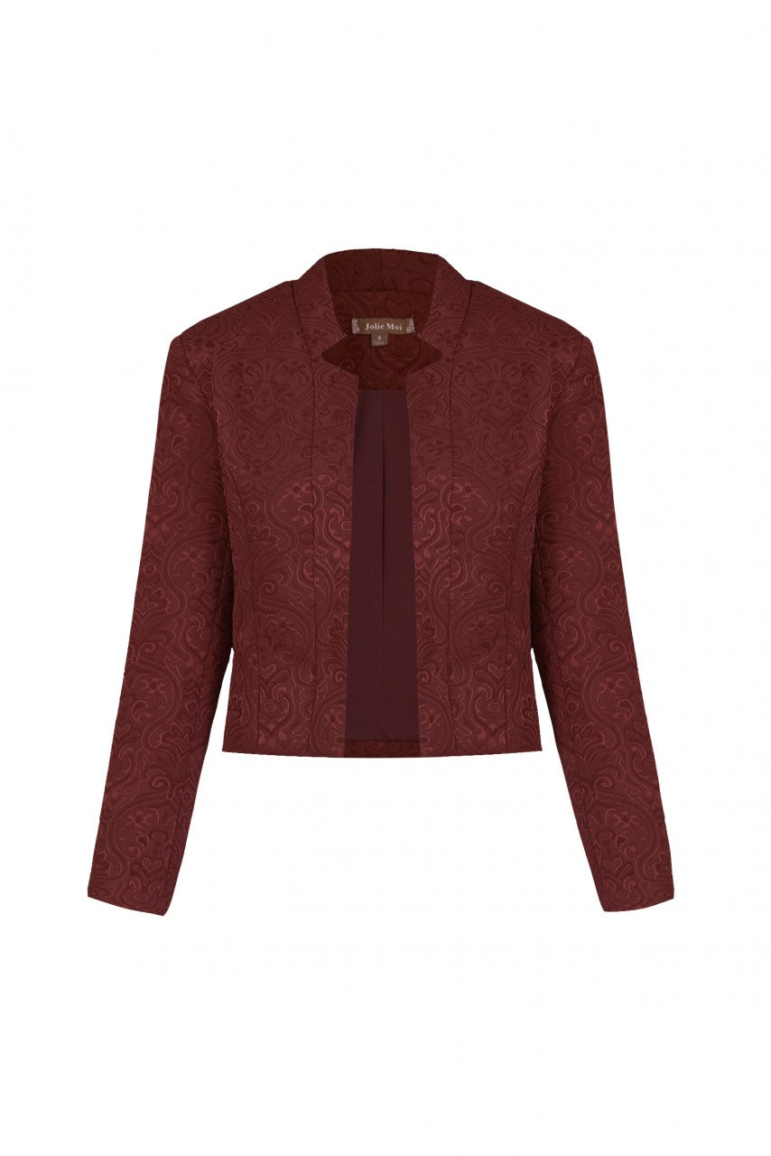 Open Front Jacket / Blazer , BURGUNDY