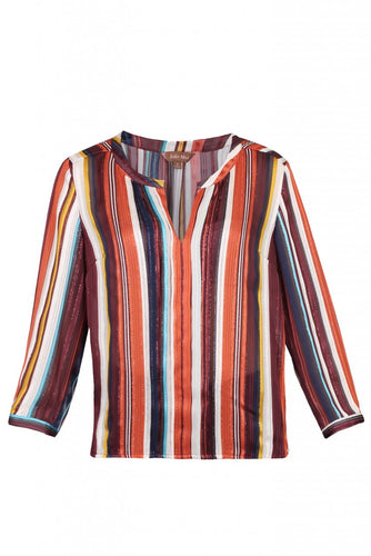 Striped Pleat Detail Blouse, Red Stripe
