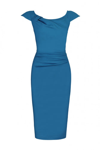 Jolie Moi Ruched 40s Wiggle Dress, TEAL