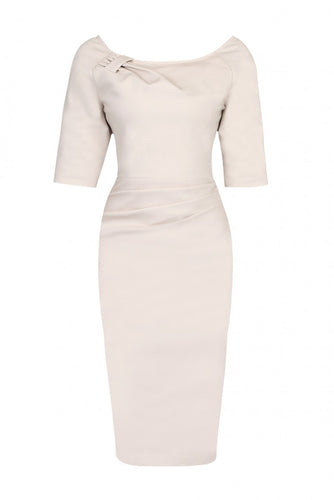 Jolie Moi 1/2 Sleeve Ruched Wiggle Dress, Beige