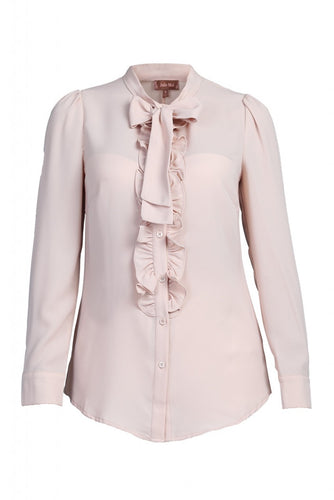 Jolie Moi Tie Bow Front Frilly Shirt, Nude