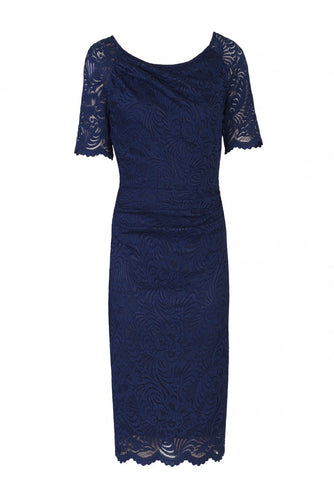 Jolie Moi Lace Ruched Shift Dress, Navy