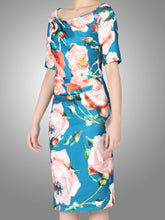 Load image into Gallery viewer, Jolie Moi Floral Short Print Dress, Teal/Multi