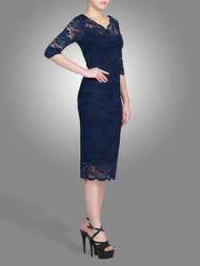 Jolie Moi Scalloped Lace Dress, Navy