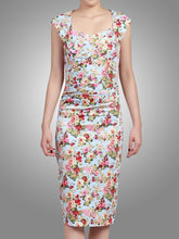 Load image into Gallery viewer, Jolie Moi Retro Floral Dress, Aqua Floral