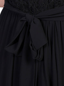 Jolie Moi Lace Bodice Pleated Maxi Dress, Black